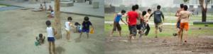 niños juegan tranquilos y vigorosamente