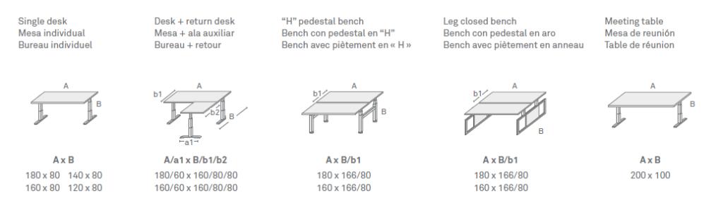 Configuraciones Mesa elevable Skala - Ergonomik